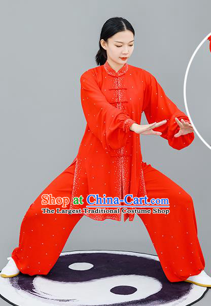 Chinese Traditional Tai Chi Training Red Costumes Martial Arts Performance Outfits for Women