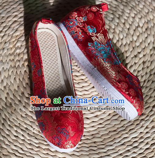 Asian Chinese Traditional Hanfu Red Brocade Shoes Ancient Princess Shoes Handmade Shoes for Women