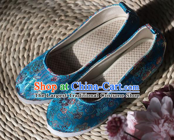 Asian Chinese Traditional Hanfu Blue Brocade Shoes Ancient Princess Shoes Handmade Shoes for Women