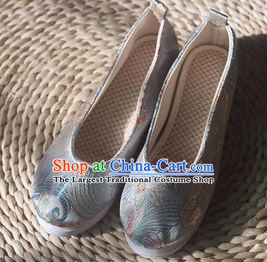 Asian Chinese Traditional Hanfu Argentate Brocade Shoes Ancient Princess Shoes Handmade Shoes for Women