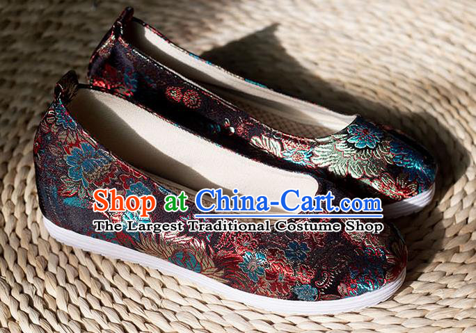 Asian Chinese Traditional Hanfu Black Brocade Shoes Ancient Princess Shoes Handmade Shoes for Women