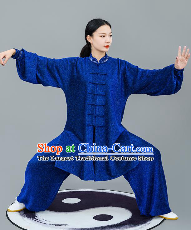 Chinese Traditional Tai Chi Training Bright Silk Royalblue Costumes Martial Arts Performance Outfits for Women