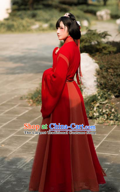 Chinese Traditional Jin Dynasty Palace Lady Costumes Ancient Drama Princess Red Hanfu Dress for Women