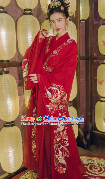 Chinese Traditional Tang Dynasty Princess Wedding Costumes Ancient Palace Lady Red Hanfu Dress for Women