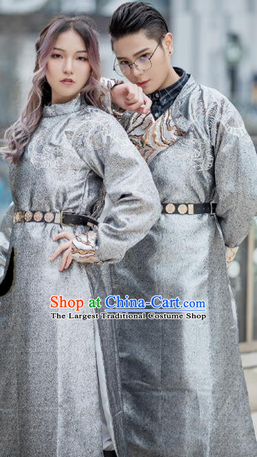 Chinese Traditional Tang Dynasty Swordsman Grey Costumes Ancient Imperial Bodyguard Hanfu Clothing for Women for Men