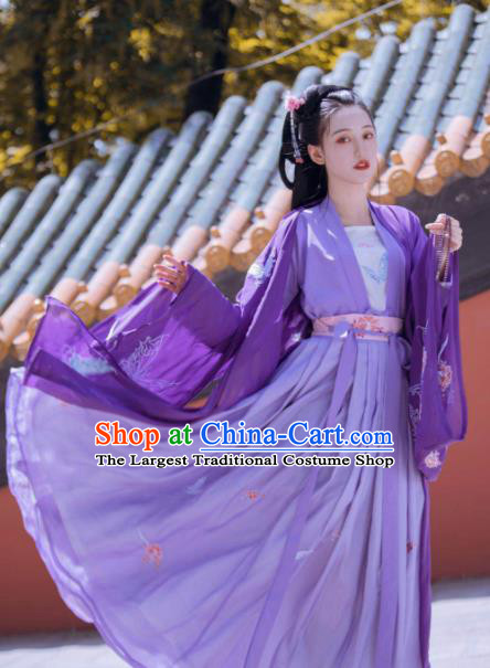 Chinese Traditional Tang Dynasty Princess Costumes Ancient Palace Lady Purple Hanfu Dress for Women