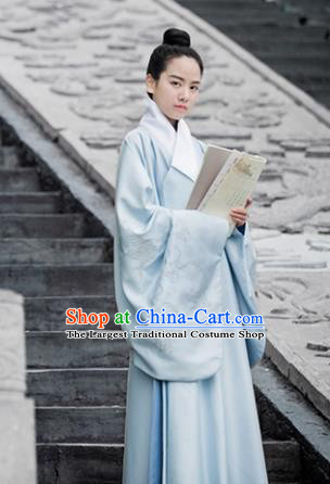 Chinese Traditional Ming Dynasty Scholar Blue Costumes Ancient Taoist Priest Clothing for Men