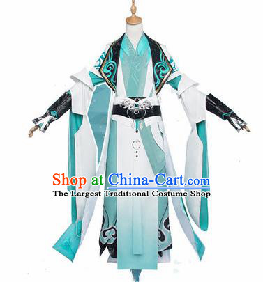 Chinese Traditional Cosplay Swordsman Blue Costumes Ancient Crown Prince Clothing for Men