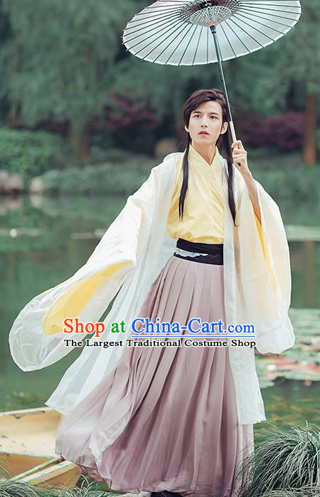 Chinese Traditional Cosplay Swordsman Costumes Ancient Scholar Clothing for Men