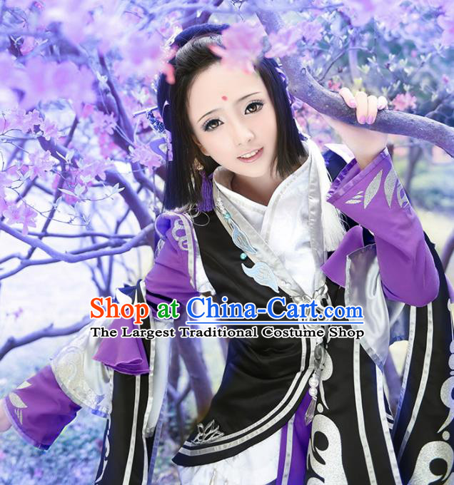 Chinese Traditional Cosplay Swordswoman Purple Costumes Ancient Female Knight Hanfu Dress for Women