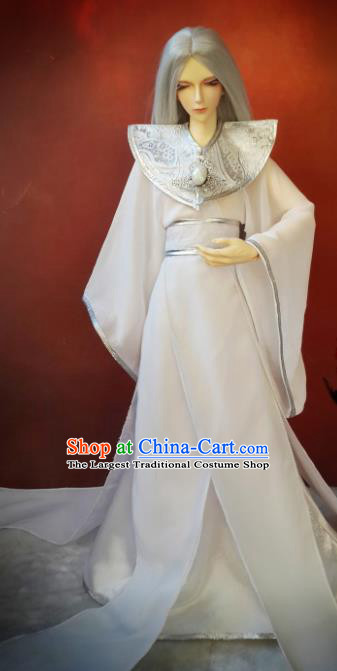 Chinese Traditional Cosplay Swordsman White Costumes Ancient Crown Prince Clothing for Men