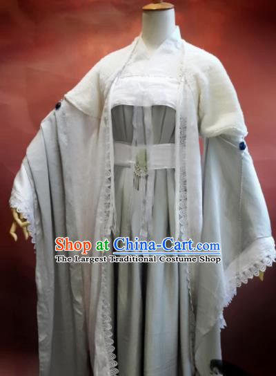 Chinese Traditional Cosplay Swordswoman Grey Costumes Ancient Female Knight Hanfu Dress for Women