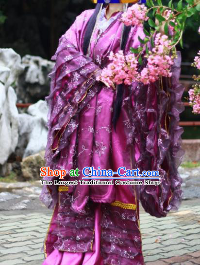 Chinese Traditional Cosplay Han Dynasty Imperial Consort Costumes Ancient Female Swordsman Purple Hanfu Dress for Women
