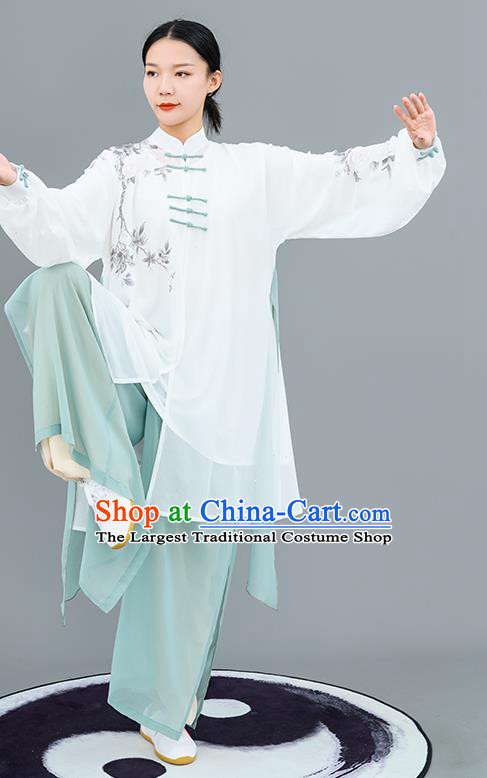 Chinese Traditional Tai Chi Training Ink Painting Costumes Martial Arts Performance Outfits for Women