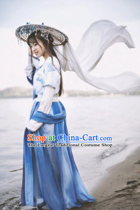 Chinese Traditional Tang Dynasty Female Civilian Costumes Ancient Maidservant Hanfu Dress for Women