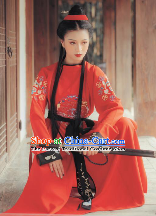 Chinese Traditional Tang Dynasty Swordswoman Costumes Ancient Female Knight Red Hanfu Dress for Women