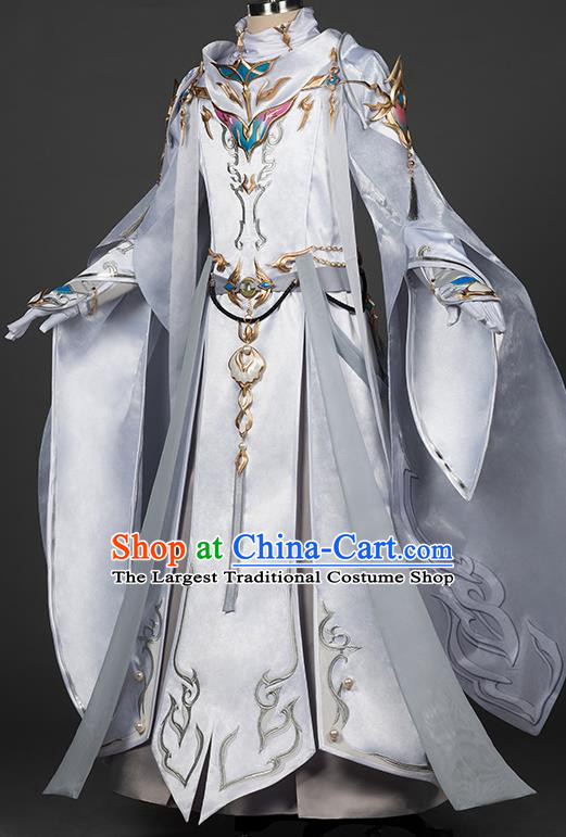 Chinese Traditional Cosplay Swordsman King White Costumes Ancient Young Knight Clothing for Men