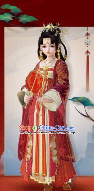 Chinese Traditional Cosplay Princess Wedding Costumes Ancient Female Swordsman Red Hanfu Dress for Women