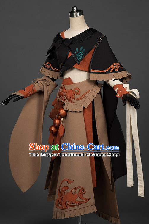 Chinese Traditional Cosplay Knight Brown Costumes Ancient Female Swordsman Hanfu Dress for Women