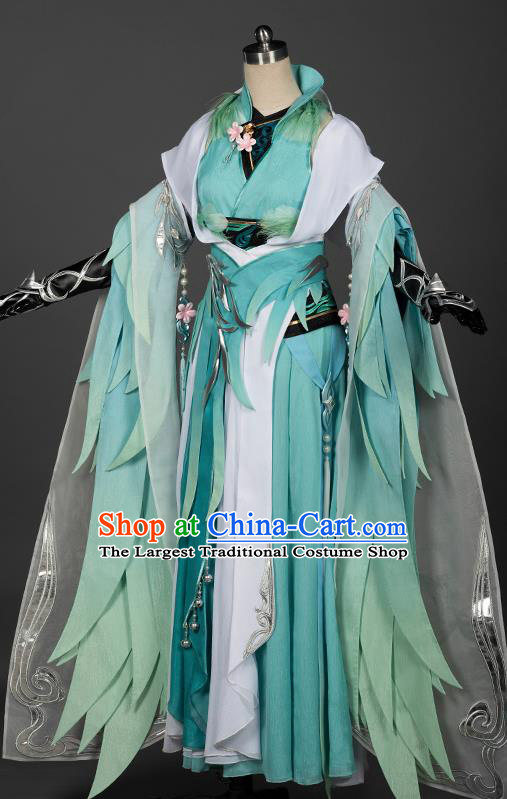 Chinese Traditional Cosplay Queen Green Costumes Ancient Female Swordsman Hanfu Dress for Women
