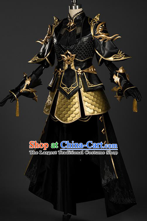 Chinese Traditional Cosplay General King Black Armor Costumes Ancient Swordsman Clothing for Men