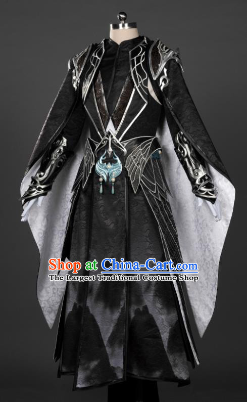 Chinese Traditional Cosplay King Black Costumes Ancient Swordsman Clothing for Men