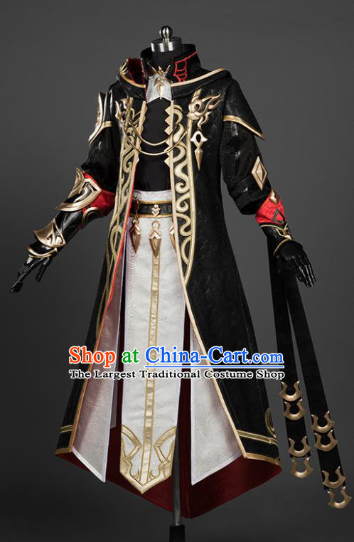 Chinese Traditional Cosplay Royal Highness King Black Costumes Ancient Swordsman Clothing for Men