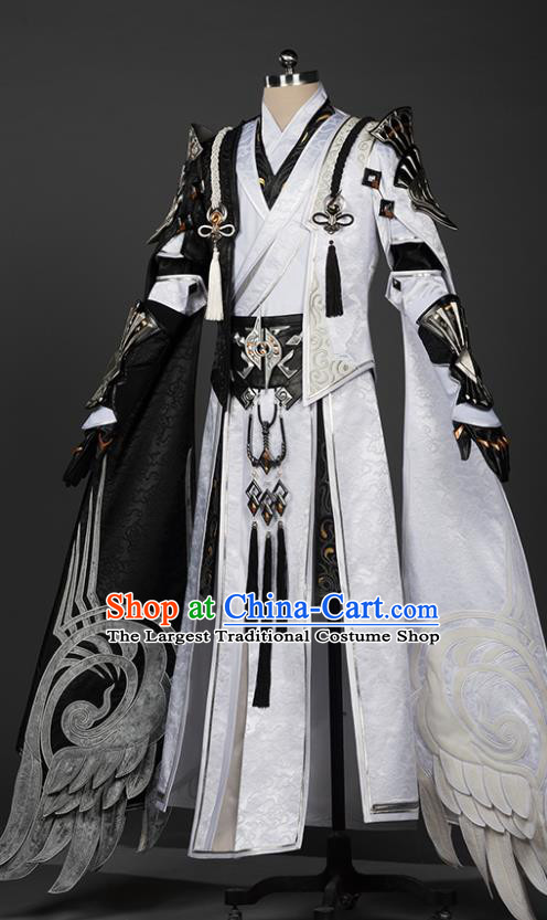 Chinese Traditional Cosplay Crown Prince King White Costumes Ancient Swordsman Clothing for Men