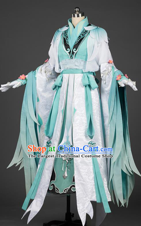 Chinese Traditional Cosplay Princess Green Costumes Ancient Female Swordsman Hanfu Dress for Women