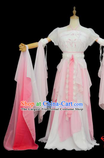 Chinese Traditional Cosplay Goddess Pink Costumes Ancient Female Swordsman Hanfu Dress for Women
