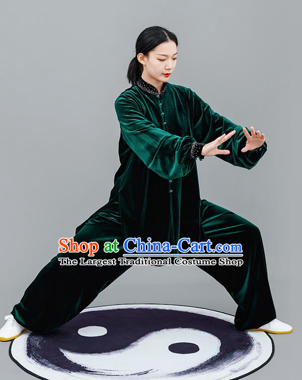 Chinese Traditional Tai Chi Training Green Velvet Costumes Martial Arts Performance Outfits for Women