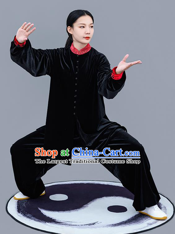 Chinese Traditional Tai Chi Training Black Velvet Costumes Martial Arts Performance Outfits for Women
