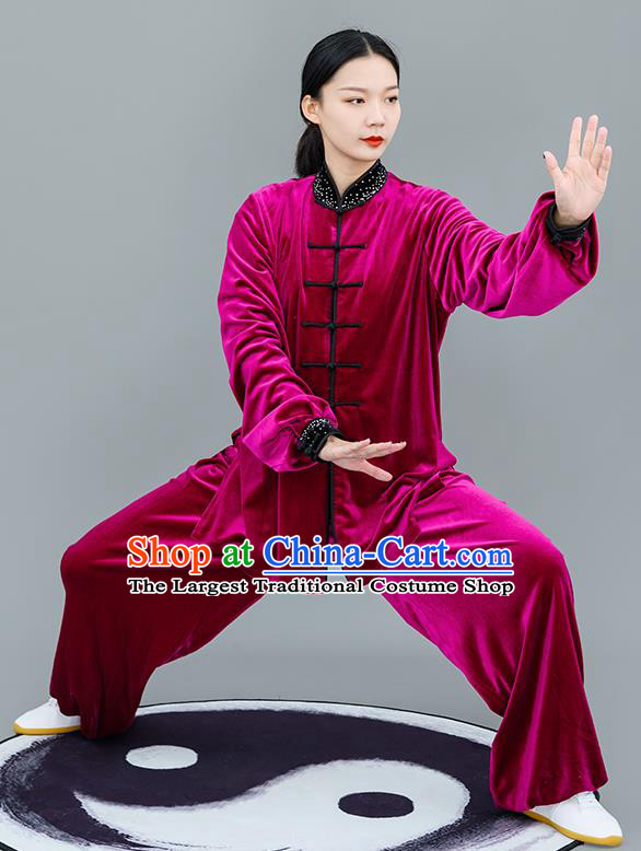 Chinese Traditional Tai Chi Training Rosy Velvet Costumes Martial Arts Performance Outfits for Women