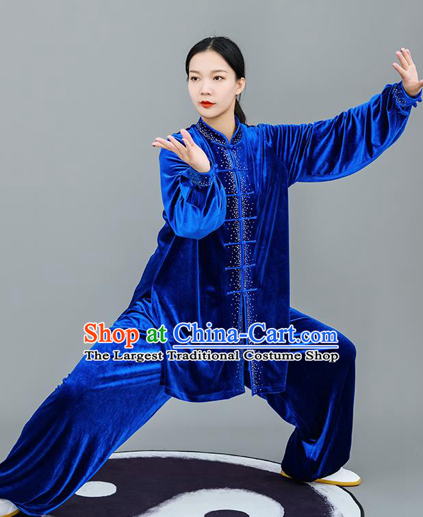 Chinese Traditional Tai Chi Training Royalblue Velvet Costumes Martial Arts Performance Outfits for Women