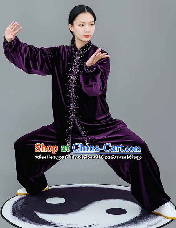 Chinese Traditional Tai Chi Training Purple Velvet Costumes Martial Arts Performance Outfits for Women