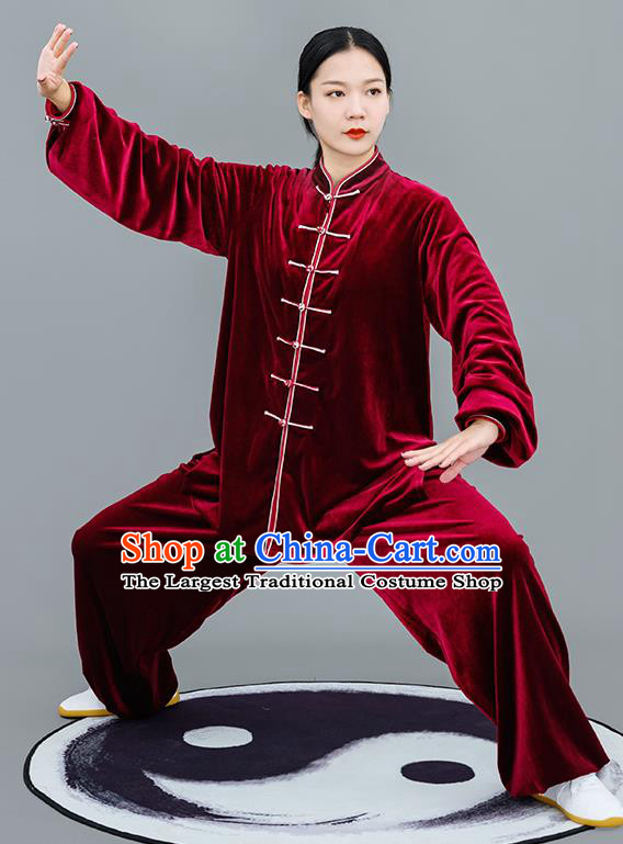 Chinese Traditional Tai Chi Training Purplish Red Velvet Costumes Martial Arts Performance Outfits for Women