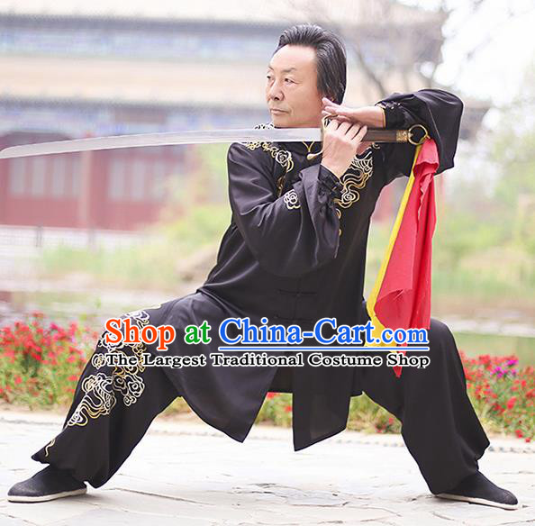 Chinese Traditional Tai Chi Training Embroidered Clouds Black Costumes Martial Arts Performance Outfits for Men