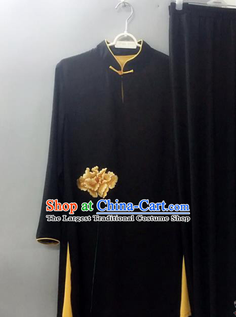 Chinese Traditional Tai Chi Training Embroidered Yellow Peony Velvet Costumes Martial Arts Performance Outfits for Women