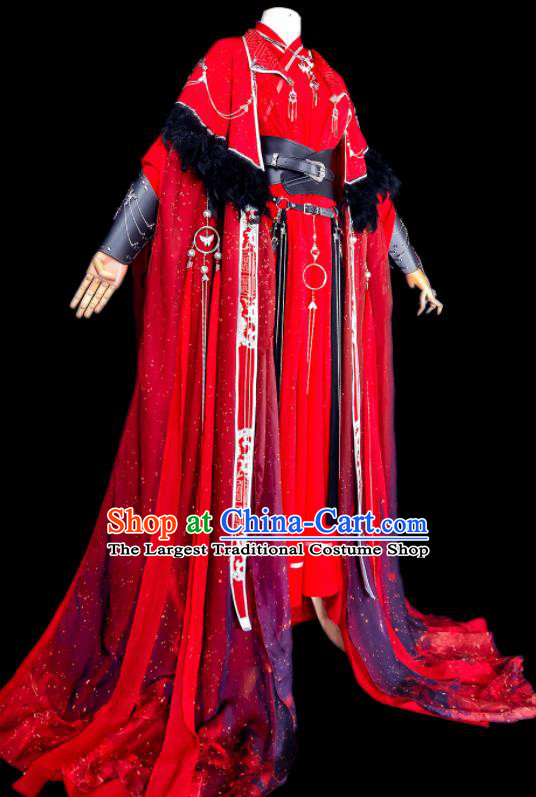Chinese Traditional Cosplay Swordsman Wedding Costumes Ancient Royal Highness King Red Clothing for Men