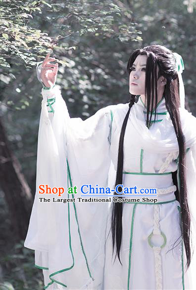 Chinese Traditional Cosplay Swordsman White Costumes Ancient Royal Highness King Clothing for Men