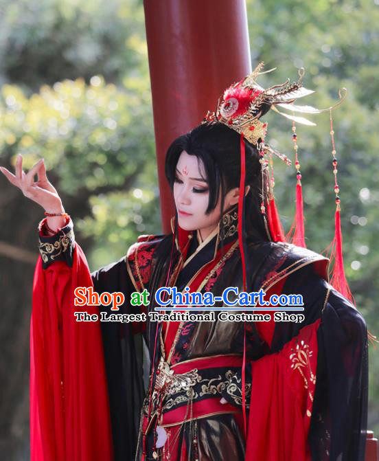 Chinese Traditional Cosplay Swordsman King Costumes Ancient Royal Highness Clothing for Men