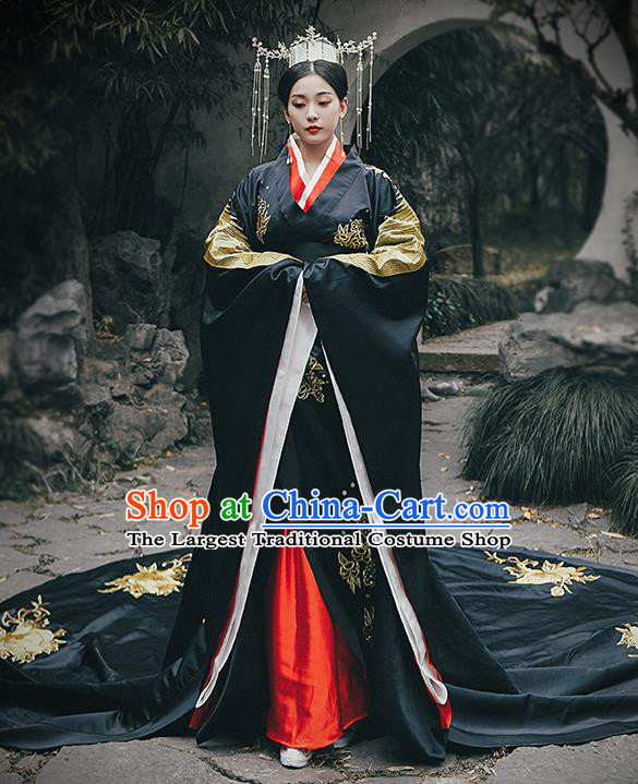 Chinese Drama Traditional Han Dynasty Court Queen Costumes Ancient Empress Black Hanfu Dress for Women