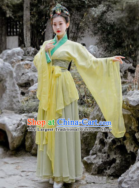 Chinese Traditional Qin Dynasty Court Princess Costumes Ancient Drama Swordsman Yellow Hanfu Dress for Women