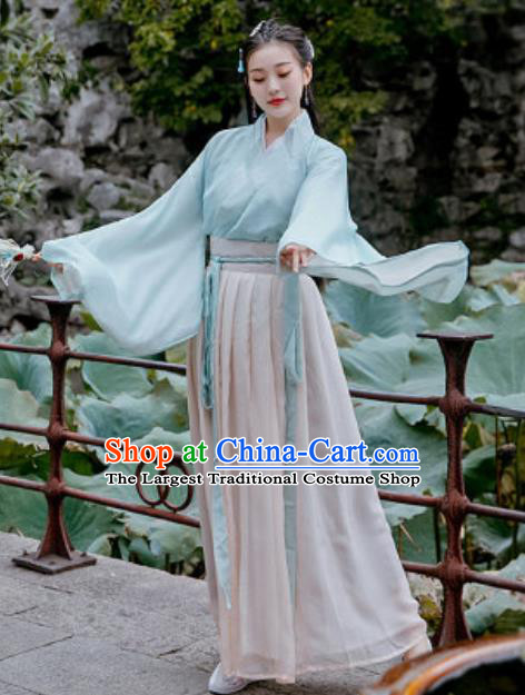 Chinese Traditional Ming Dynasty Female Civilian Costumes Ancient Drama Goddess Chiffon Hanfu Dress for Women