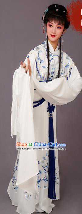 Chinese Traditional Beijing Opera Dan Actress White Dress Peking Opera Princess Embroidered Costumes for Women