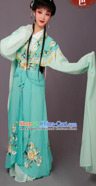 Chinese Traditional Beijing Opera Dan Actress Green Dress Peking Opera Princess Embroidered Costumes for Women