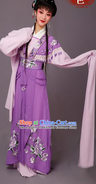 Chinese Traditional Beijing Opera Dan Actress Purple Dress Peking Opera Princess Embroidered Costumes for Women