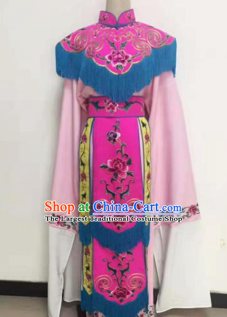 Chinese Traditional Beijing Opera Dan Princess Rosy Dress Peking Opera Actress Embroidered Costumes for Women