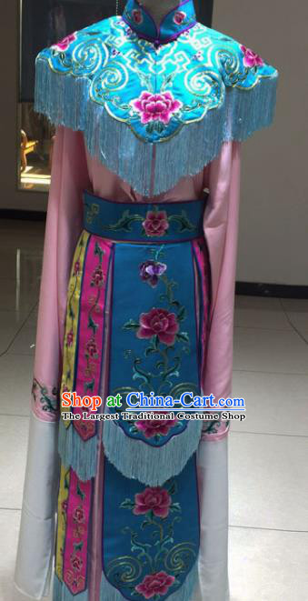 Chinese Traditional Beijing Opera Dan Princess Blue Dress Peking Opera Actress Embroidered Costumes for Women