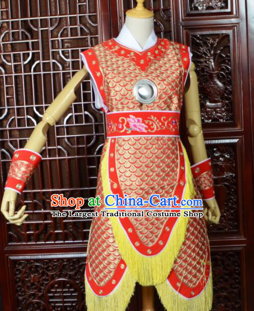 Chinese Traditional Beijing Opera Daomadan Red Armor Peking Opera Female Warriors Costumes for Women